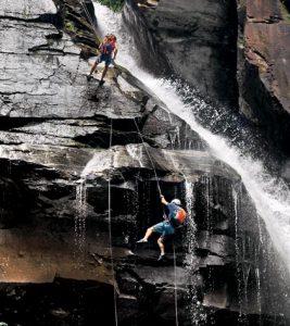 Waterfall rappelling North Carolina's Big Bradley Falls